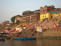 One of Varanasi's 88 ghats (riverfront steps leading down to the River Ganges)