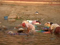 Washing laundry in the Ganges River