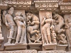 Check out the intricate detail on Khajuraho's temples...as one woman is getting felt up, another is applying eye shadow
