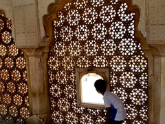Intricate marble lattice work; Amber Fort