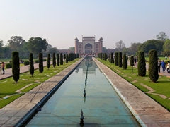 View looking back towards the main gate of the Taj Mahal