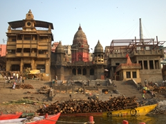 One of the burning ghats (cremation site) of Varanasi
