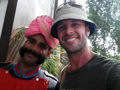 Robby and the security guard at our Pushp Villa hotel; Agra