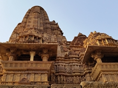 Lakshmana Temple, the most erotic of Khajuraho's temples. We were amazed to learn that only 25 of the original 85 temples built in the 11th Century remain today