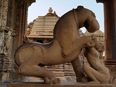 Lion sculpture; Khajuraho Temple Complex