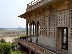 The octagonal tower of Musamman Burj, where Emperor Shah Jahan was imprisoned by his son for 8 years. Luckily, he had a view of the Taj Mahal from his marble balcony
