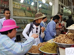 Sampling fruits and nuts at the spice market; Chandni Chowk