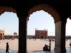 View looking out to the central courtyard of Jama Masjid; Delhi