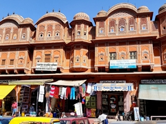 Stores selling souvenirs on Hawa Mahal road
