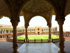 Agra Fort is still a functional military base with the majority of it off limits to tourists. We were still able to explore a decent area of the fort
