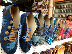 Handmade shoes in a variety of colors; Jaipur