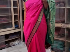 Becky modeling a pink/green sari; New Delhi