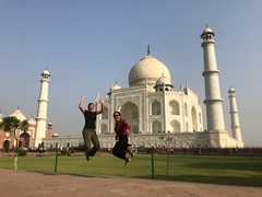 Becky and Ann jumping in front of the Taj Mahal (a 22 year labor of love built by Mughal emperor Shah Jahan for his favorite wife, Mumtaz Mahal)