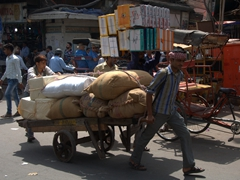 Transporting cargo on the streets of Old Delhi