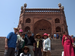 On the steps leading up to Jama Masjid, one of the largest mosques in India