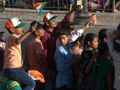 "A young boy waving an ""I Love India"" flag; Wagah Border Ceremony"