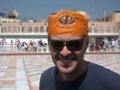 Robby showing off his mandatory head covering to visit the Golden Temple of Amritsar