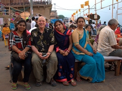 Bob making friends at the Ganga Aarti