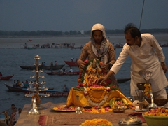 Preparing for the evening aarti, a spiritual and uplifting ceremony
