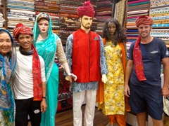 Ann, Anh Long and Robby trying to blend in; Jaipur