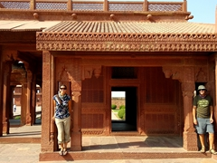 Posing at the House of the Turkish Sultana, one of the most ornate buildings of Fatehpur Sikri