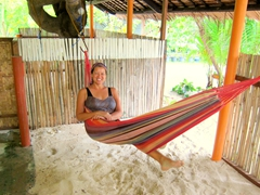 Becky chilling on our hammock; Aabana Resort