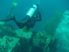 Following dive master Josh on the MV Doña Marilyn ferry wreck