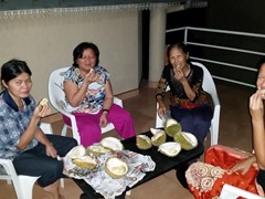 Durian munchers; balcony of The Peppermint guesthouse; Kandy