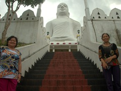 Climbing up to check out the Buddha statue