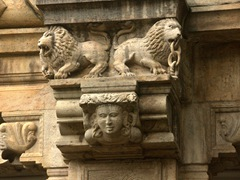 Carved details on the Temple of the Tooth; Kandy