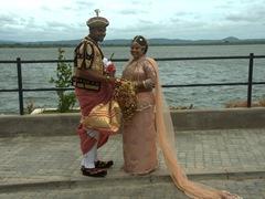 A Sri Lankan couple taking wedding photos; Polonnaruwa