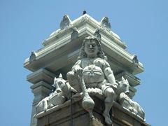 Cornerstone sculpture of Shri Ponnambalawaneswaram Kovil, a Hindu temple built entirely out of granite