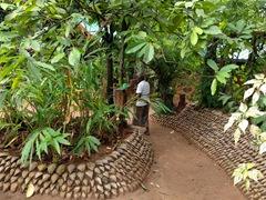 Ingenious coconut husk wall; spice garden near Matale