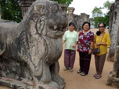 The ladies posing at the King's Council Chamber; ruins of Island Park; Polonnaruwa