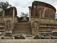 The Vatadage, a circular relic house, stands in the center of the Sacred Quadrangle; Polonnaruwa