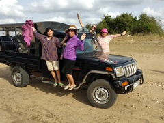 Posing with our jeep safari vehicle; Kaudulla National Park