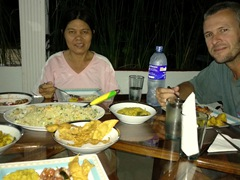 Enjoying our dinner at Disna Homestay; Habarana