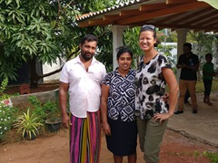 Becky with the lovely owners of Disna Homestay; Habarana