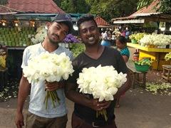 Lotus flower vendors; Kelaniya Temple