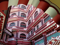 Interior view of Jami Ul-Alfar, a candy cane colored mosque that is one of the oldest in Colombo
