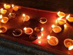 Burning candles; Shri Ponnambalawaneswaram Kovil