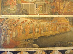 Paintings depicting key events in the life of Buddha on display inside Kelaniya's Temple