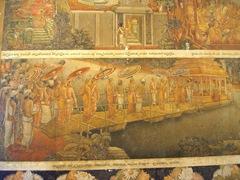 Paintings depicting key events in the life of Buddha on display inside Kelaniya's Temple