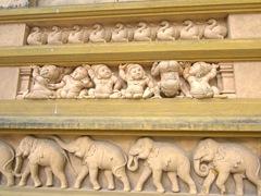 Cheeky temple carvings; Kelaniya Temple