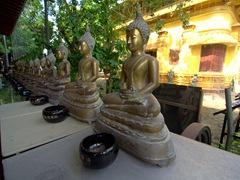 A row of Buddha statues; Gangaramaya Temple