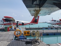 Getting ready to board our Trans Maldivian seaplane!