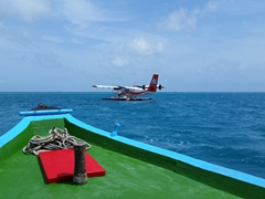 Saying goodbye to our seaplane as we make our way to Filitheyo Island Resort