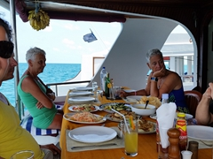 First meal on board the MY Sheena, our luxury SCUBA yacht