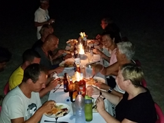 Enjoying our BBQ buffet dinner; Fulidhoo Island