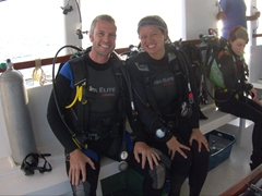 "Geared up and ready to dive ""Miyaru Kanou""; Felidhe Atoll"